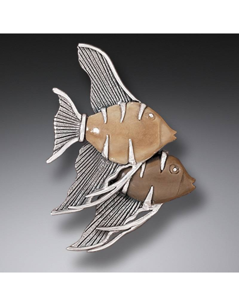 ZEALANDIA Fossilized Walrus Tusk Angelfish Pin