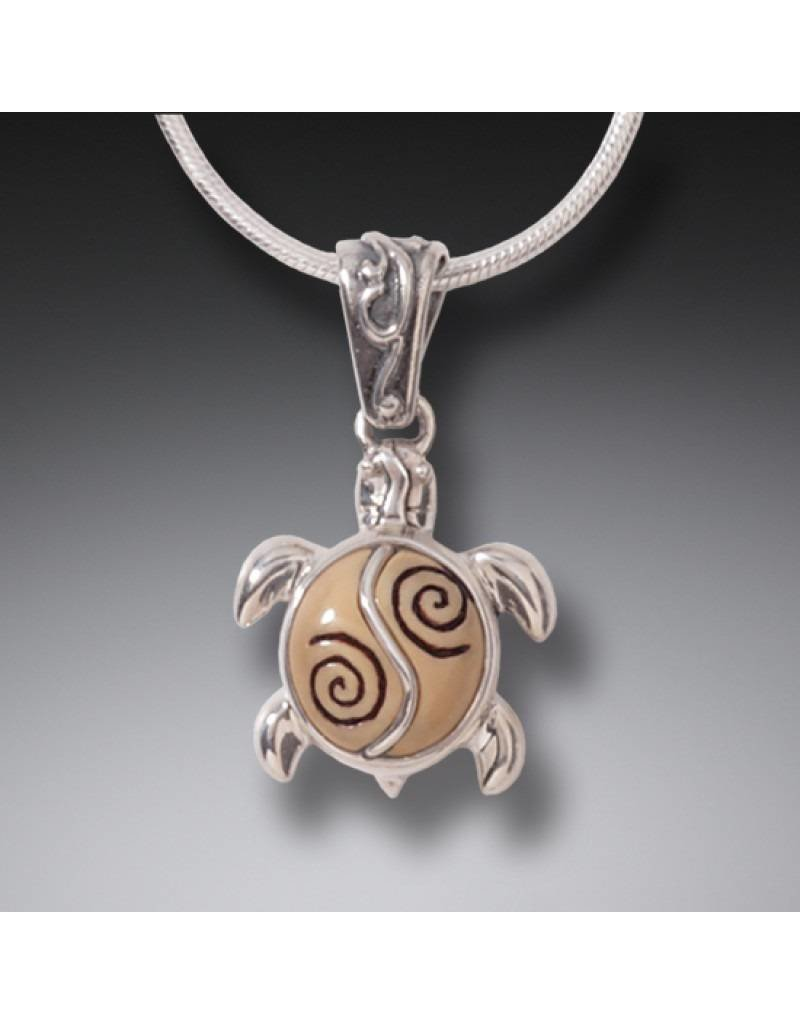 ZEALANDIA Fossilized Walrus Tusk Ivory Turtle and Sterling Silver Pendant -  Baby Turtle