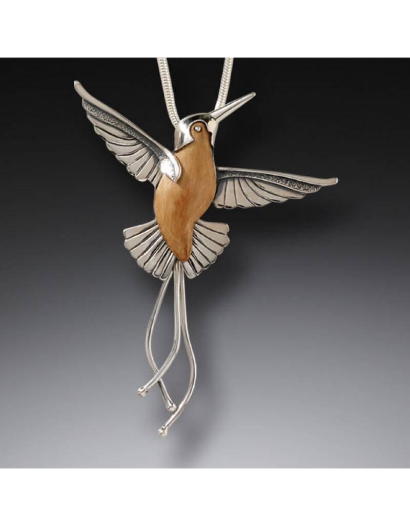ZEALANDIA Fossilized Walrus Tusk Hummingbird Pendant