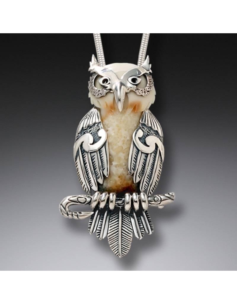 ZEALANDIA Fossilized Walrus Ivory Owl Pendant