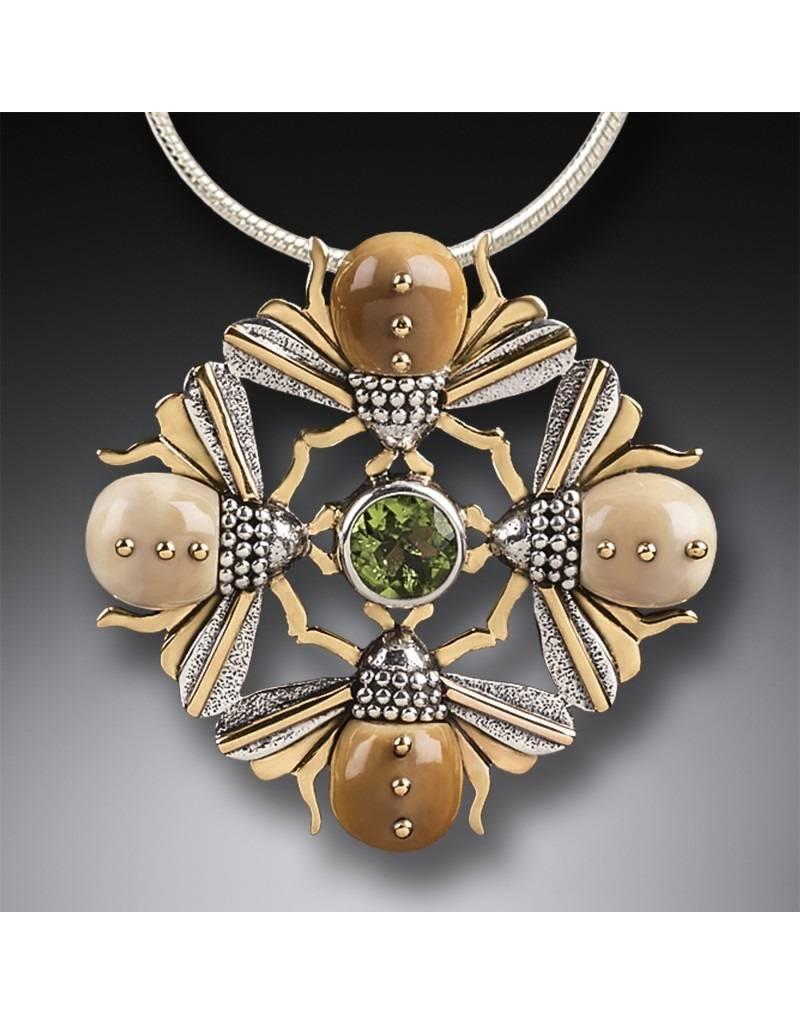 ZEALANDIA Bee Mandala Pendant with Peridot
