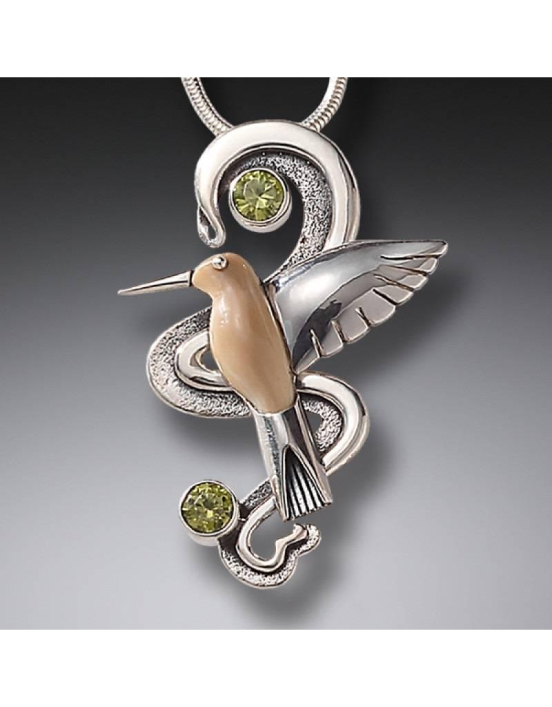ZEALANDIA Hummingbird with Peridot Pendant