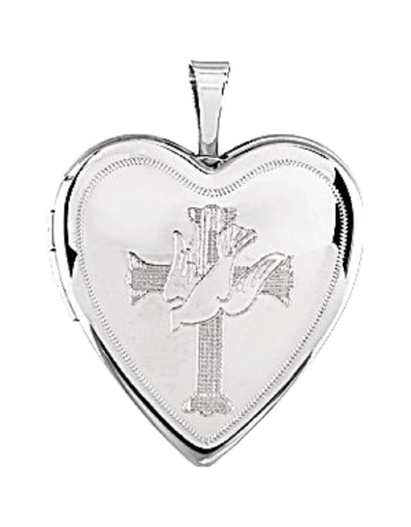 Heart Cross Dove Locket 21mm