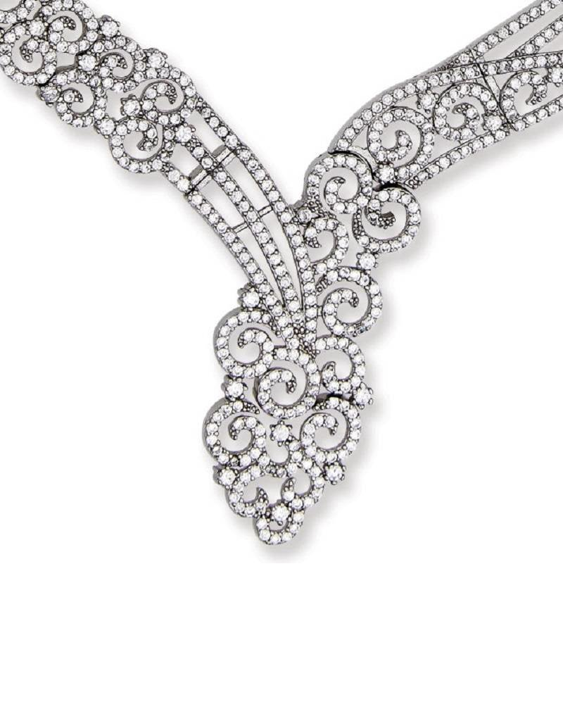Sterling Silver Swirl Design Cubic Zirconia Necklace