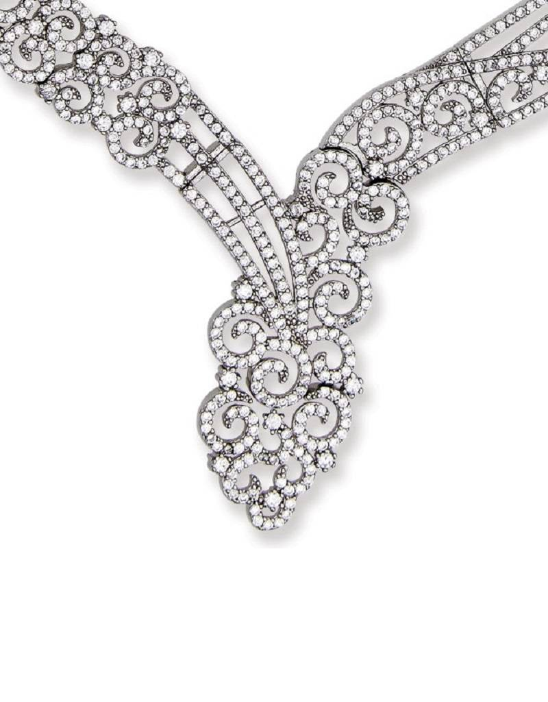 Swirl Design CZ Necklace