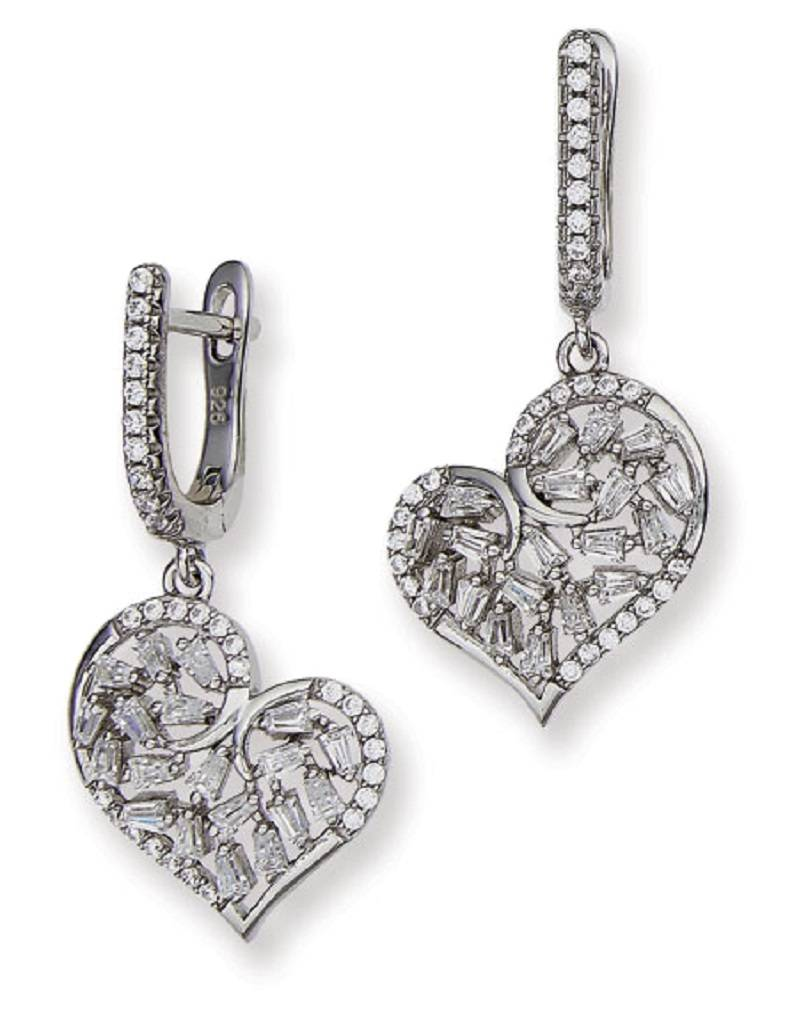 CZ Heart Dangle Earrings 32mm