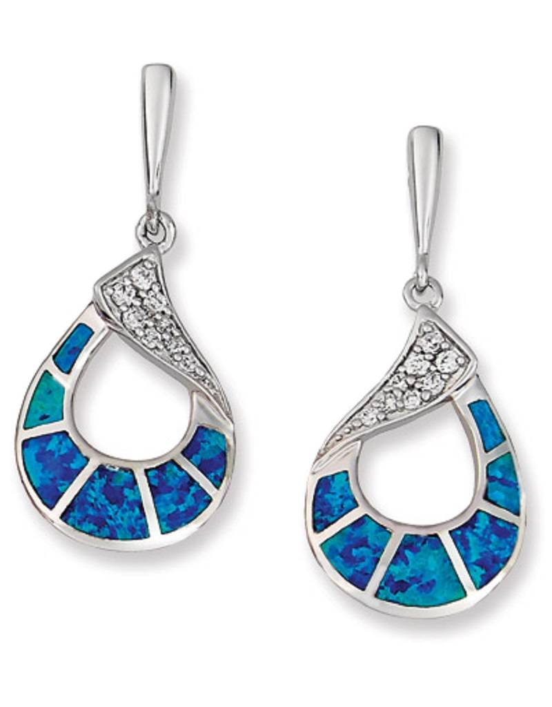 Teardrop Opal CZ Post Earrings 31mm