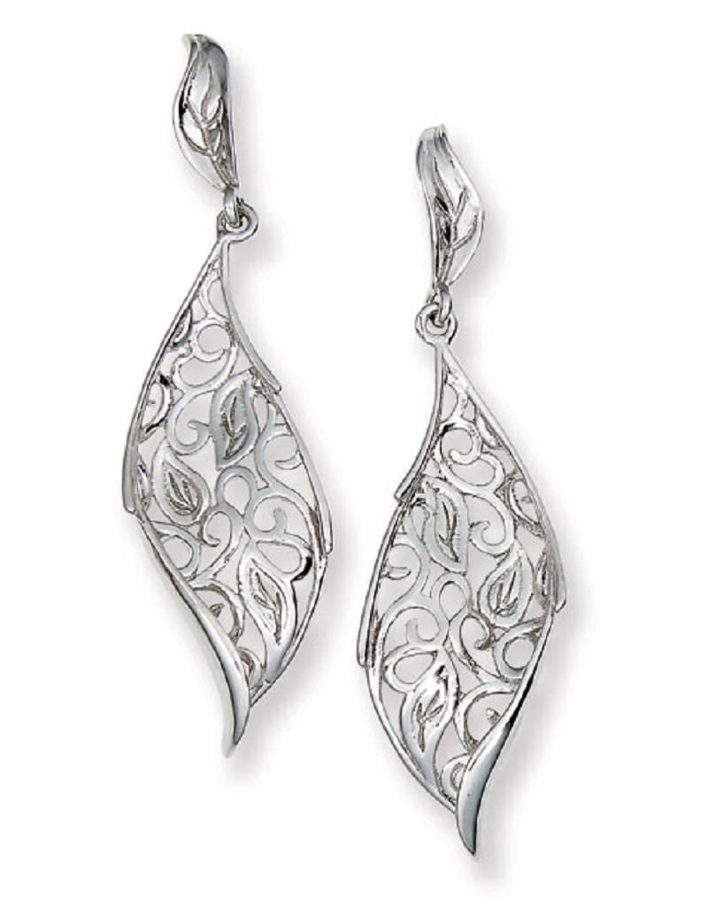 Open Leaf Post Earrings 41mm