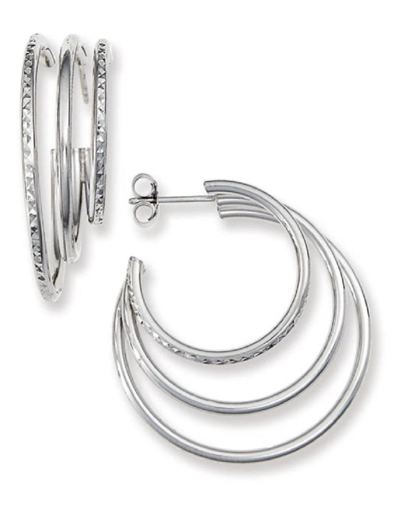 Triple 3/4 Hoop Post Earrings 35mm