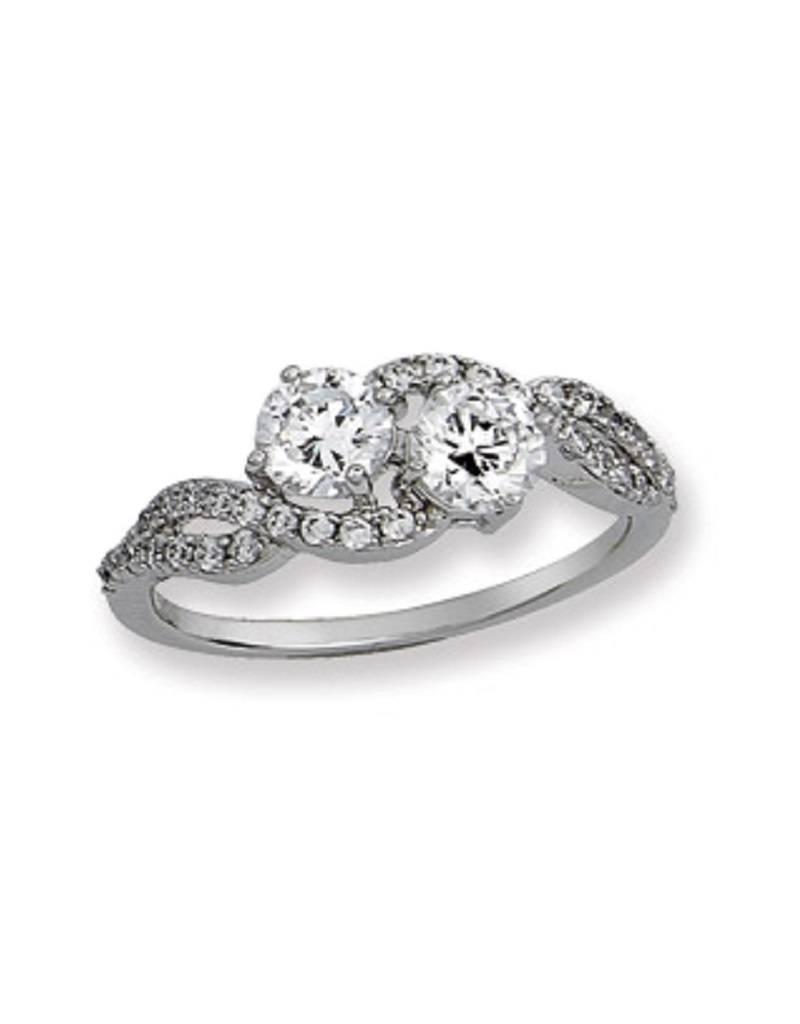 2-Stone CZ Twist Ring