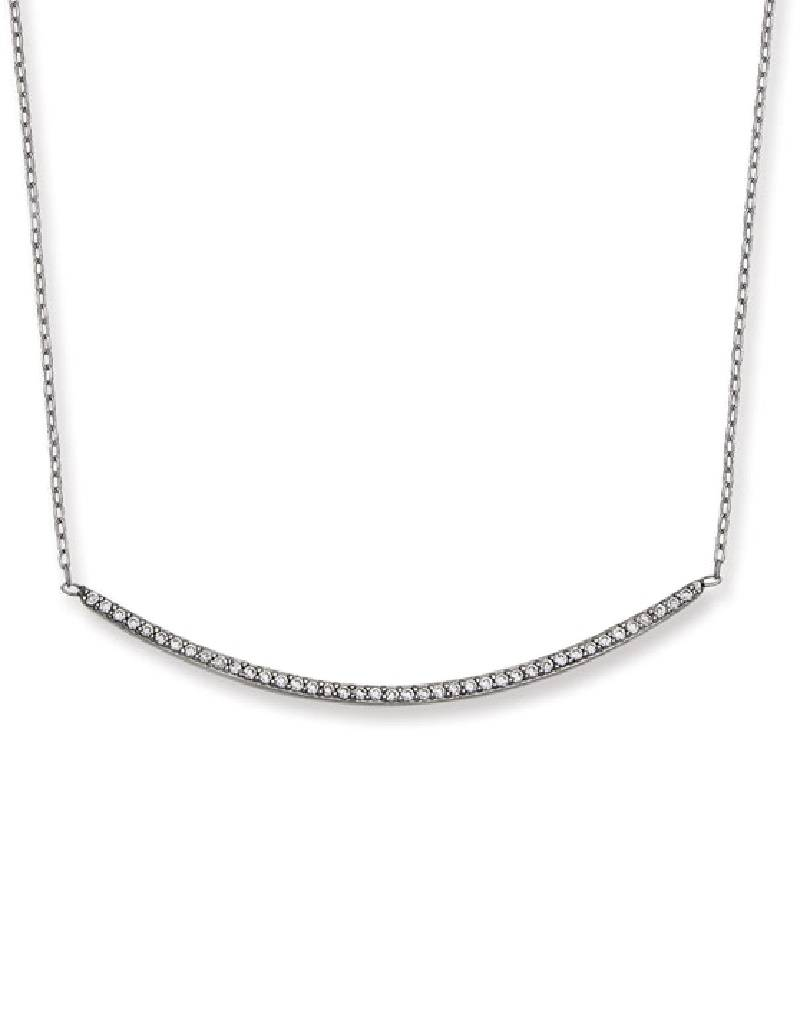 """Curved Bar CZ Necklace 16""""+2"""""""