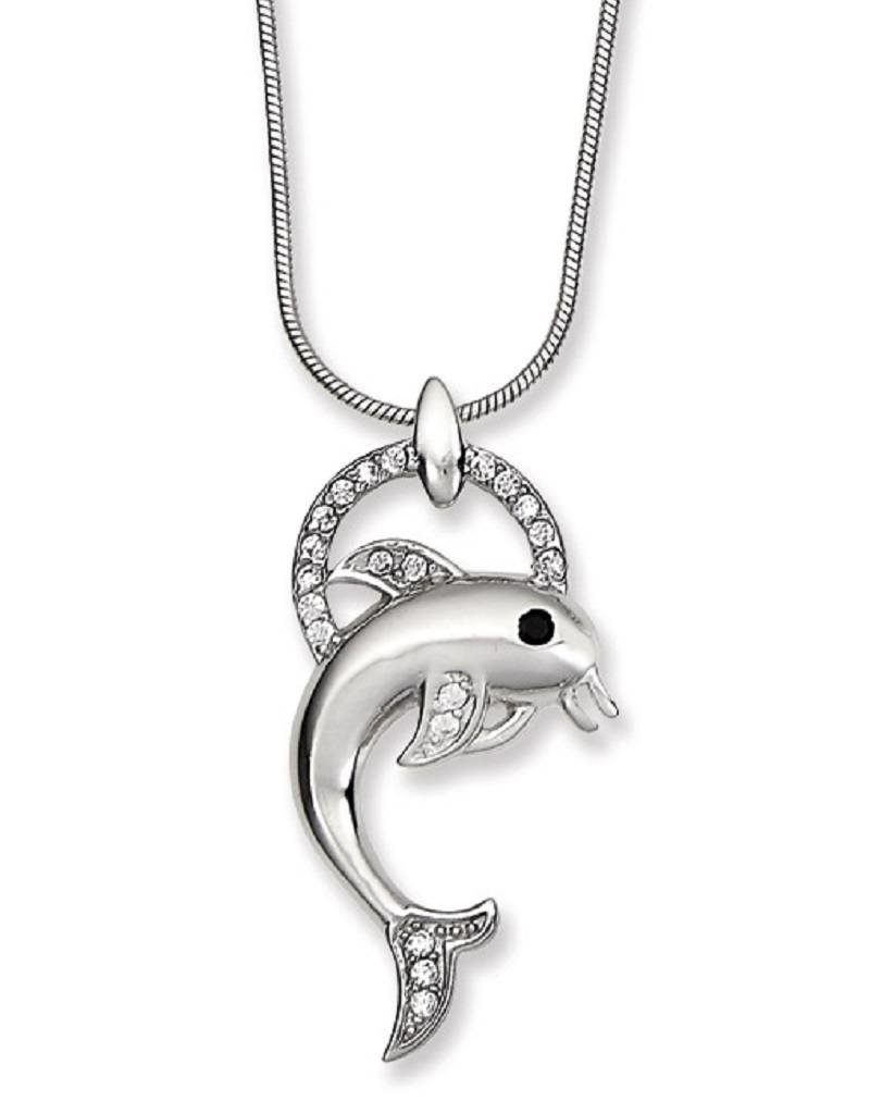 """Sterling Silver Dolphin & Ring Cubic Zirconia Necklace 18"""""""