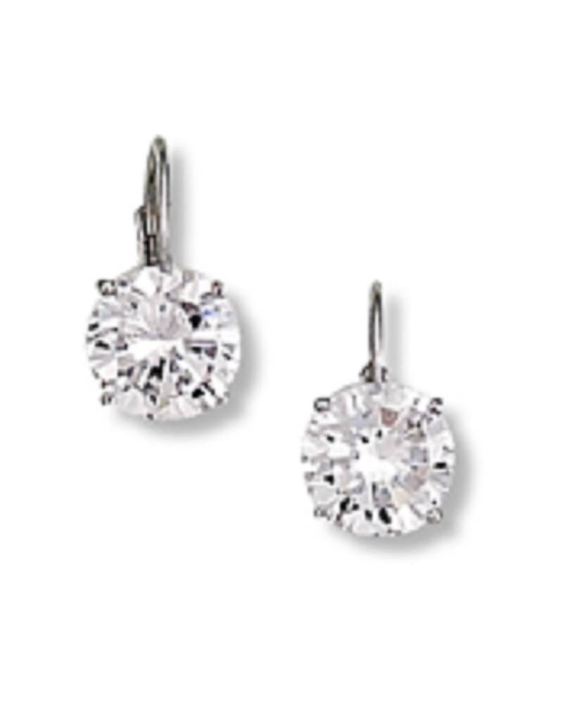 Round CZ Leverback Earrings 8mm