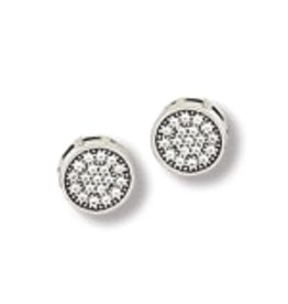 Round Pave CZ Stud Earrings 7.5mm