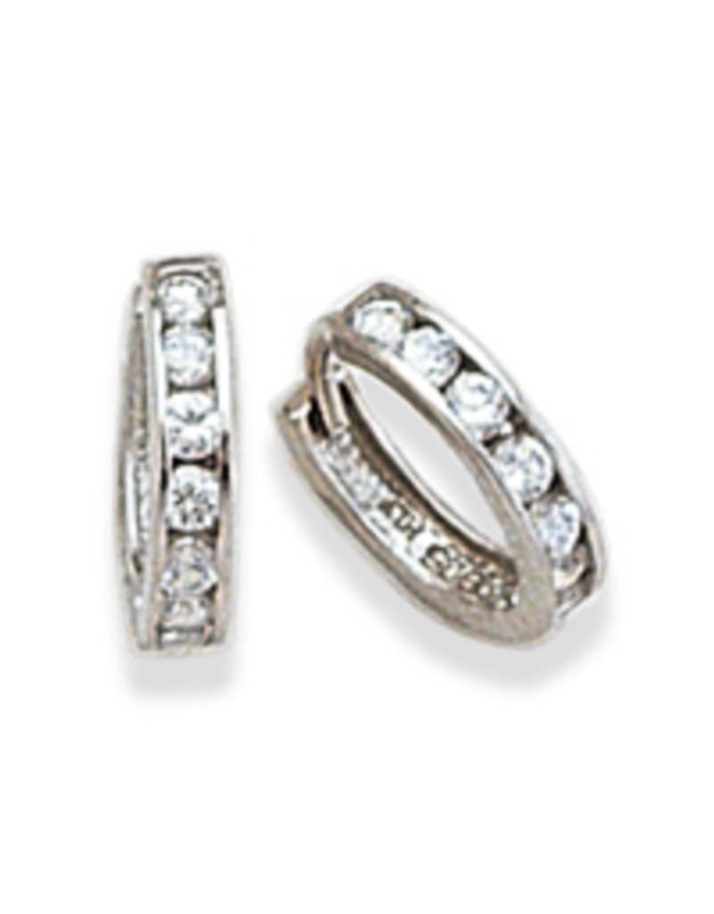 Sterling Silver Channel Set Cubic Zirconia Huggie Earrings 14mm
