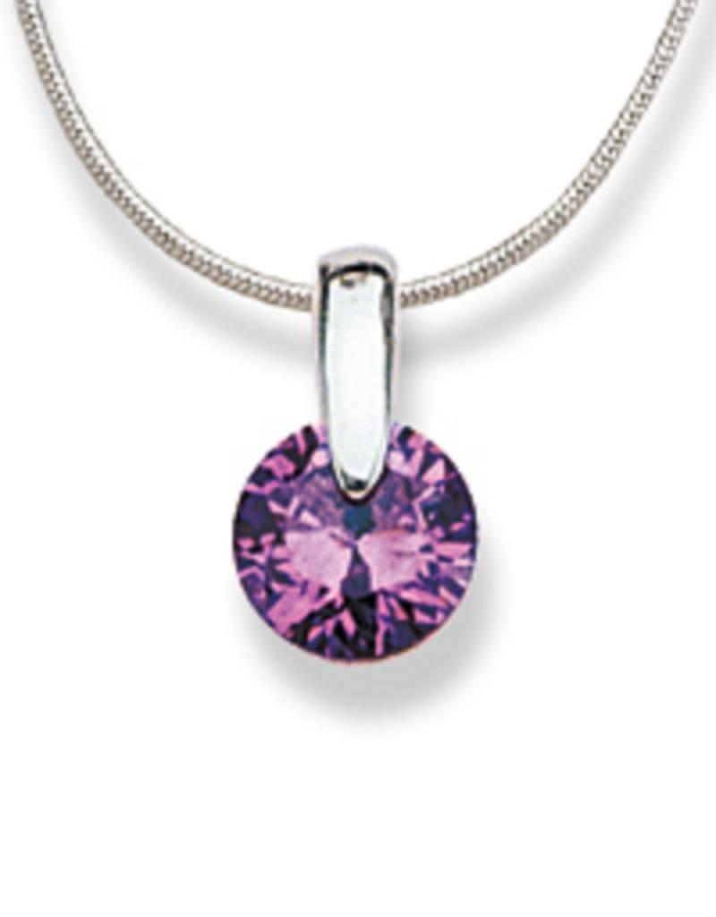 """Round Purple CZ Slide Necklace 18"""""""