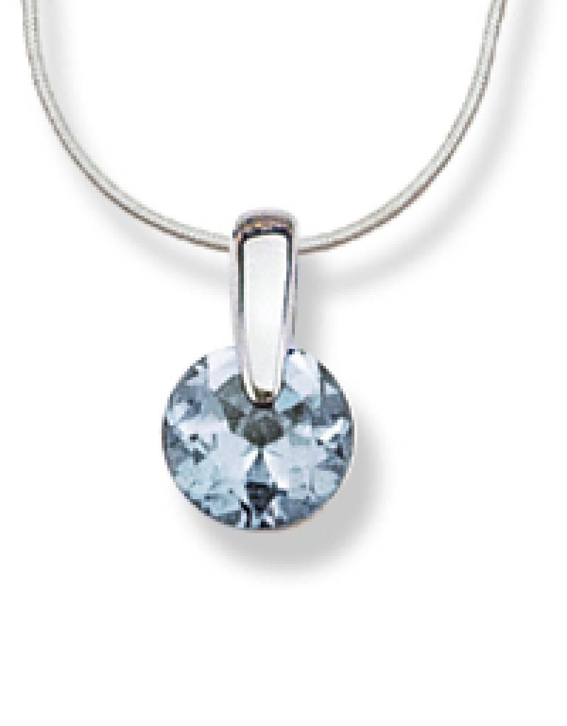 "Round Blue CZ Slide Necklace 18"""
