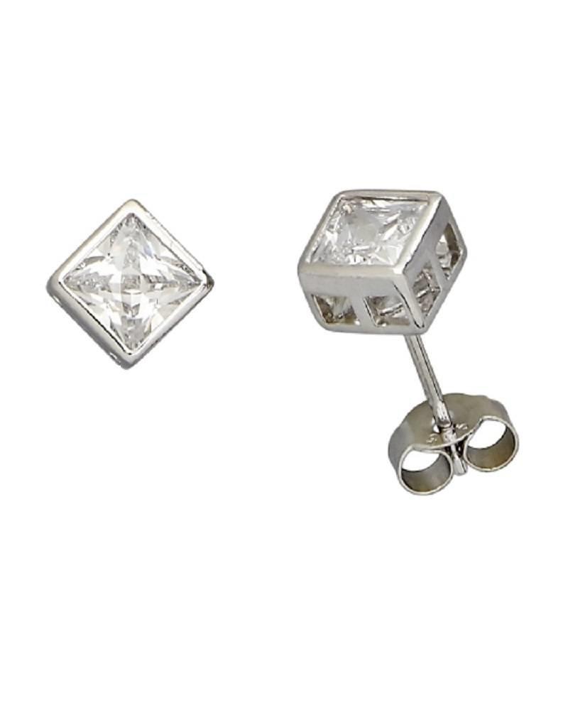 Sterling Silver Square Bezel Set Cubic Zirconia Stud Earrings 6mm