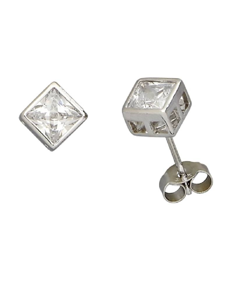 Square CZ Stud Earrings 6mm