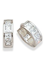 Sterling Silver Square Cubic Zirconia Huggie Earrings 12mm