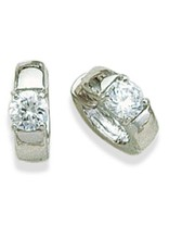 Sterling Silver Round Cubic Zirconia Huggie Earrings 12mm
