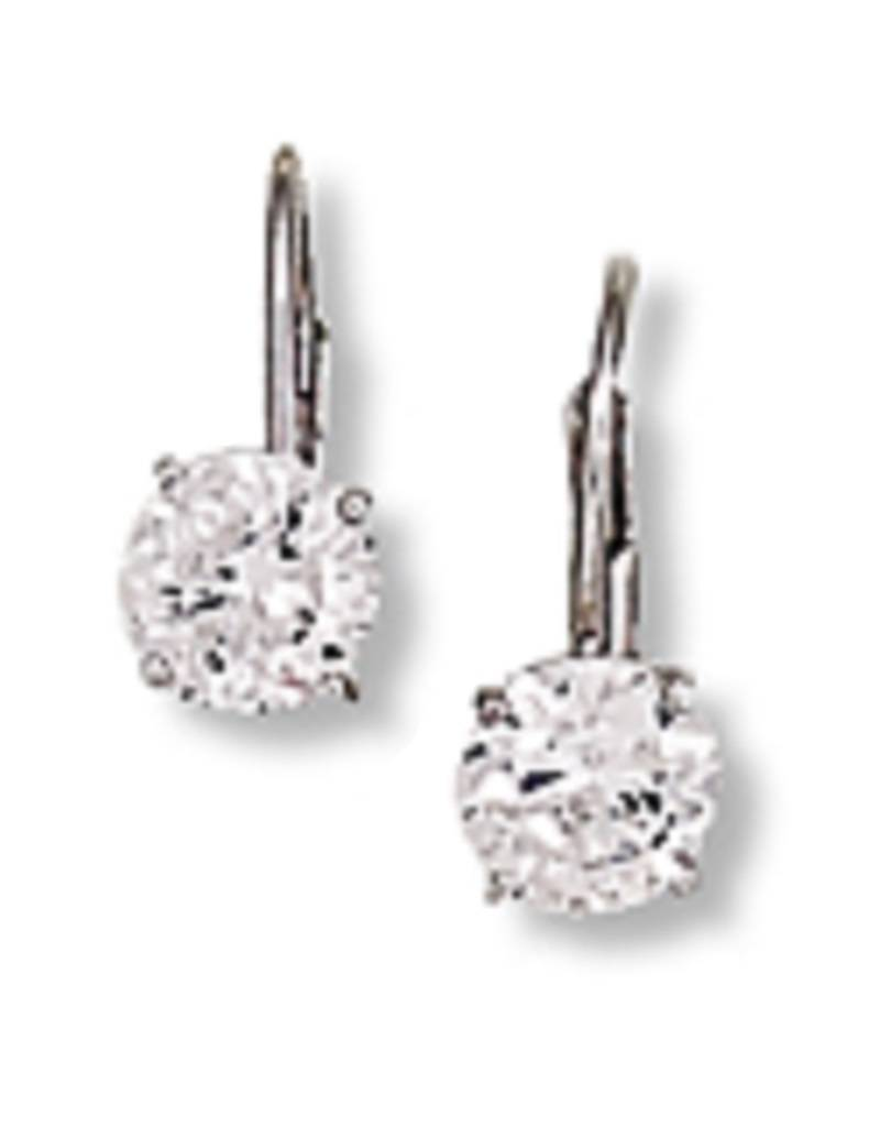 Round CZ Leverback Earrings 6mm