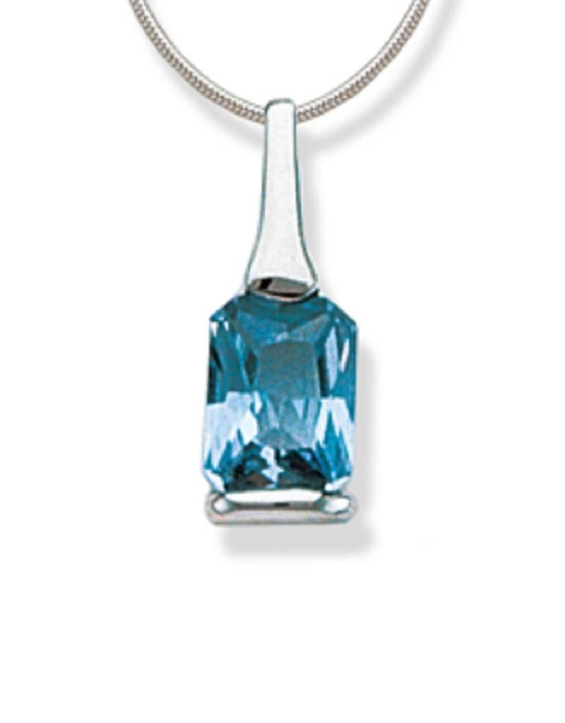 Rectangle Blue CZ Necklace
