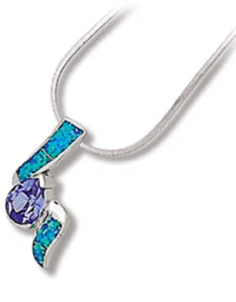 Teardrop Tanzanite CZ & Opal Necklace