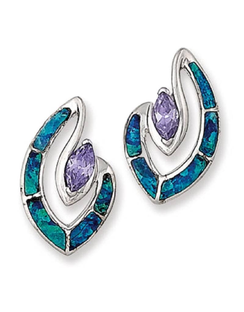 Purple CZ & Opal Post Earrings 18mm