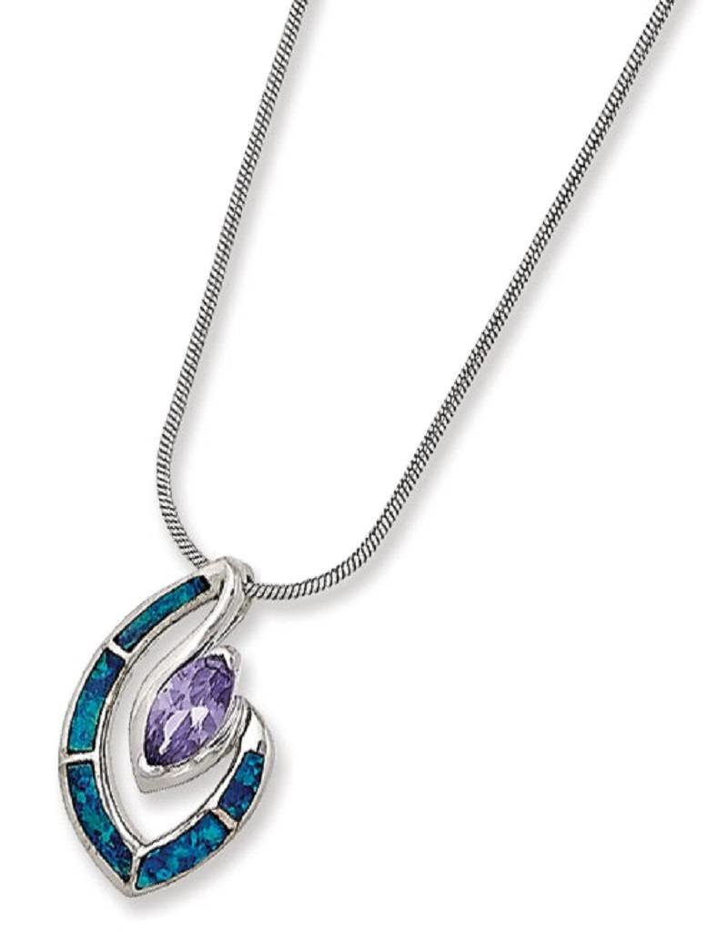 """Sterling Silver Marquise Purple Cubic Zirconia and Blue Synthetic Opal Necklace 18"""""""