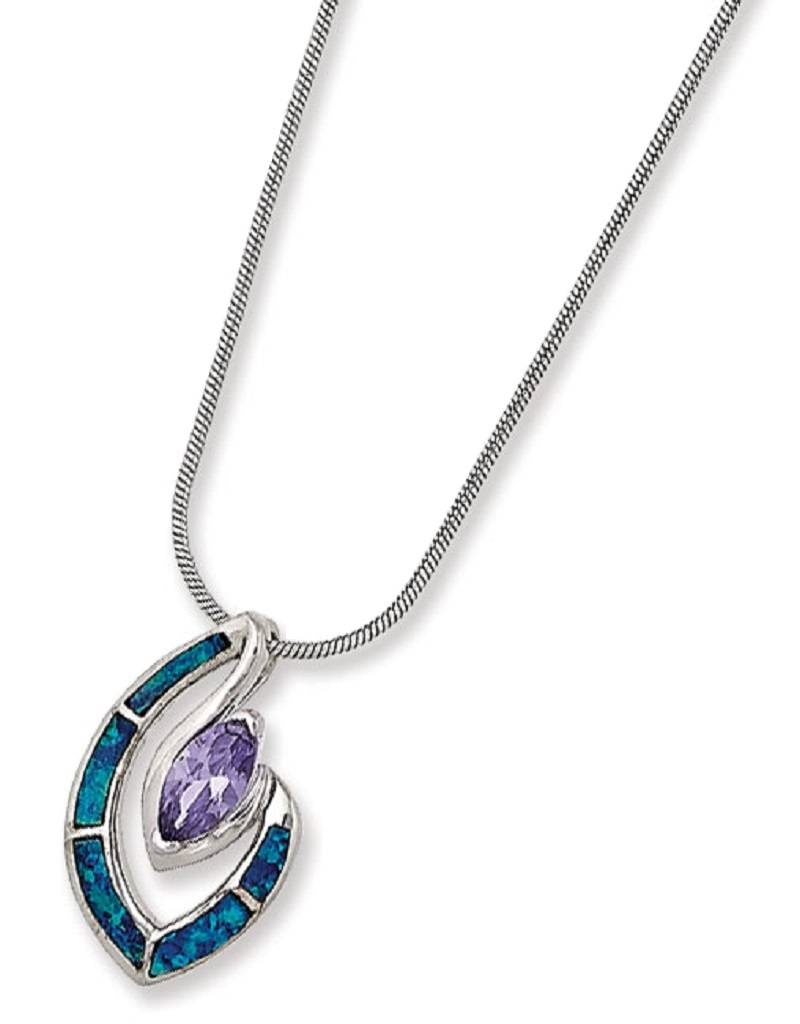 Marquise CZ & Opal Necklace