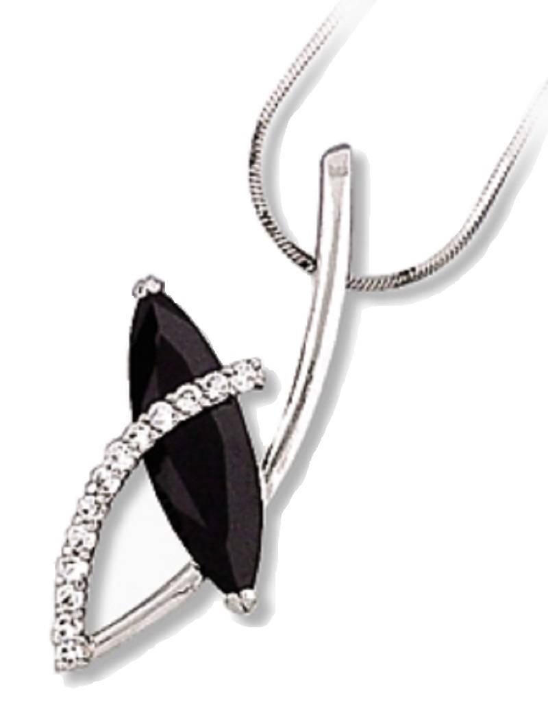 "Marquise Black CZ Necklace 18"""