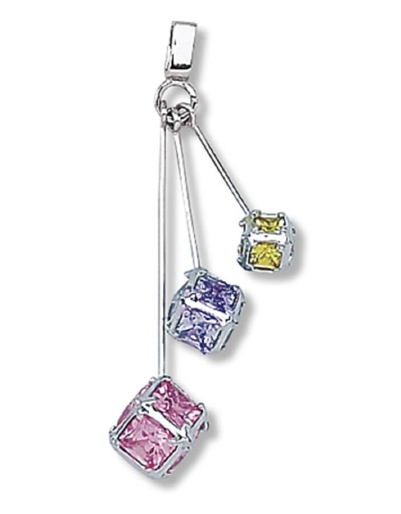 Multi Color Cube Dangle Necklace