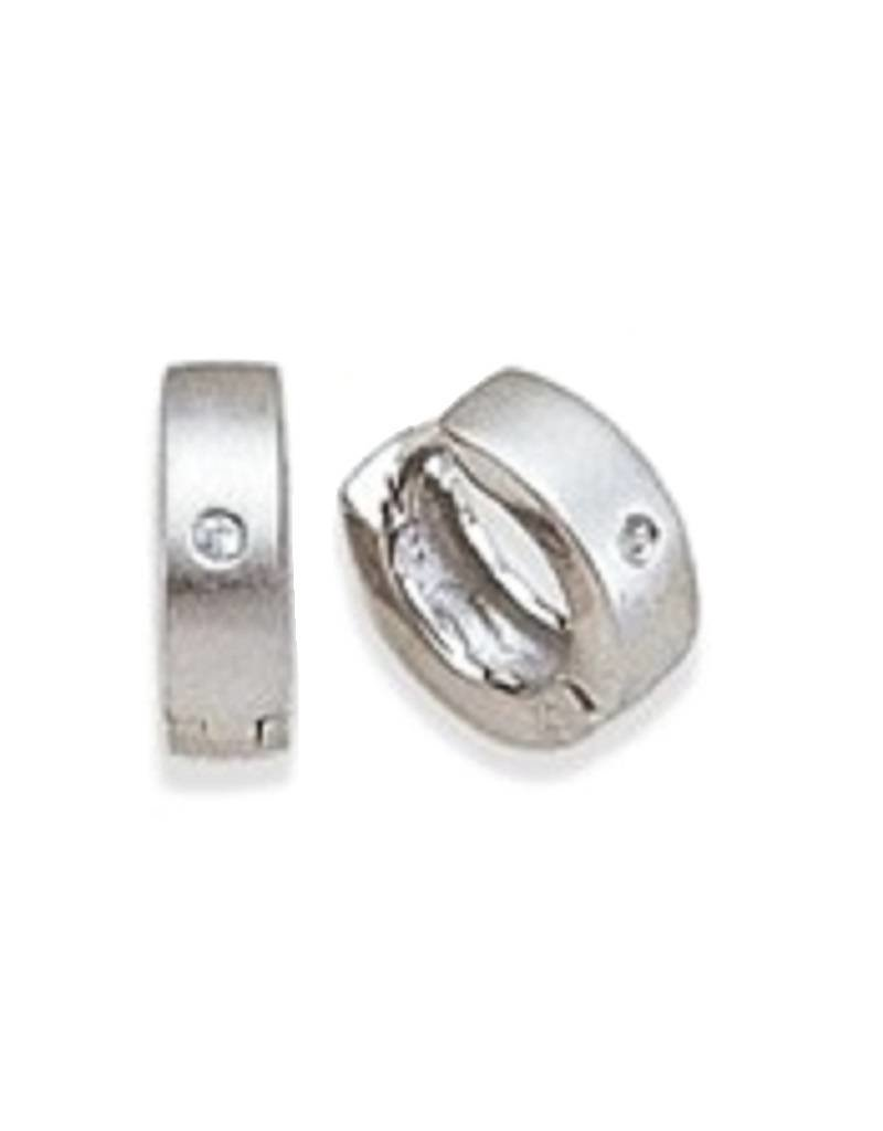 Sterling Silver Matte Cubic Zirconia Huggie Earrings 12mm