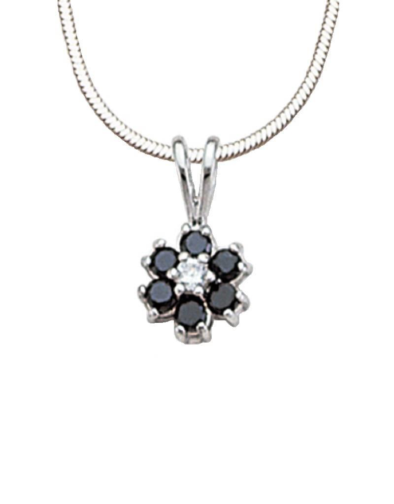 Sterling silver flower with cz necklace