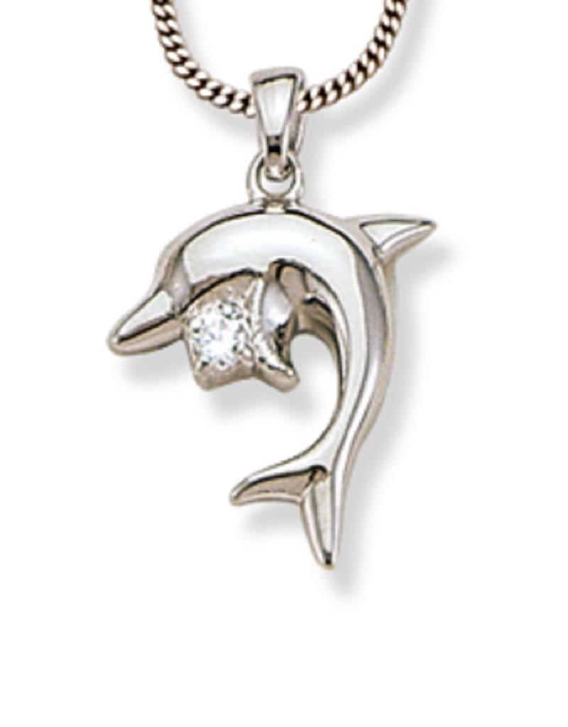 "Dolphin CZ Necklace 18"""