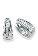 Sterling Silver Cubic Zirconia Huggie Earrings 15mm