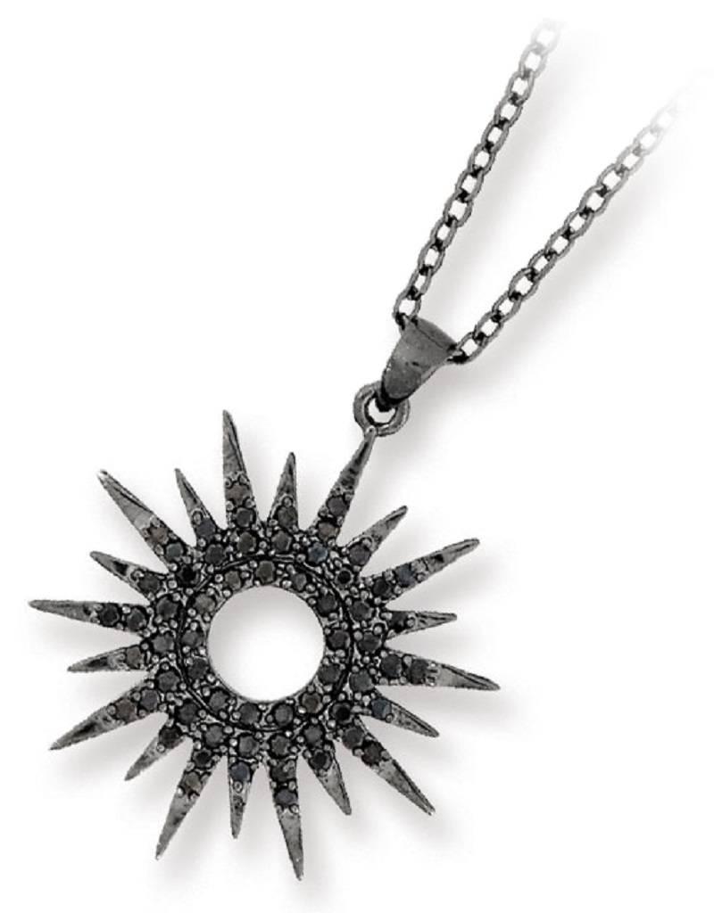 """Sm Black CZ Sun Dial Necklace 18"""""""