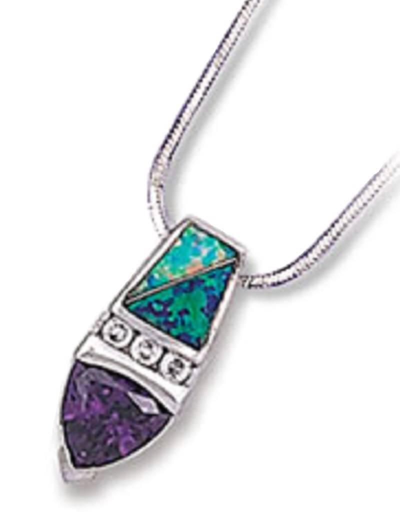 Purple CZ & Opal Necklace