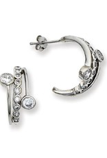 Sterling Silver 1/2 Hoop Cubic Zirconia Eternity Post Earrings 18mm
