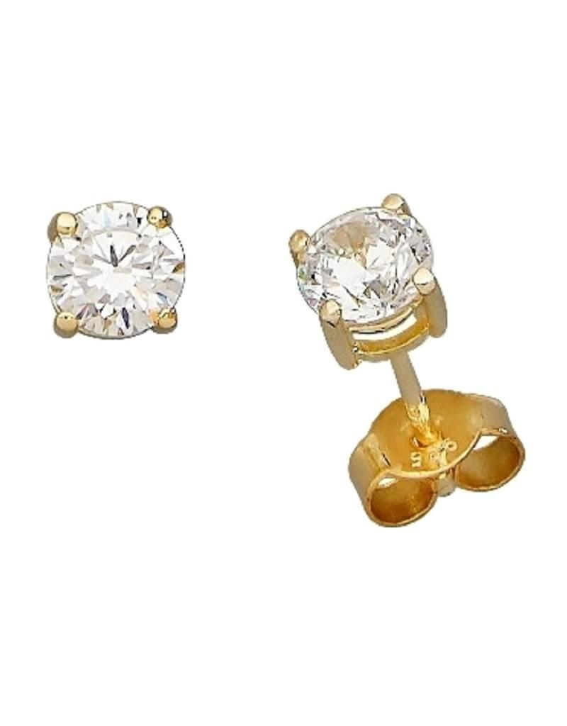 513dfc288 Sterling Silver Round Cubic Zirconia Stud Earrings with 14k Gold Vermeil  Finish 5mm