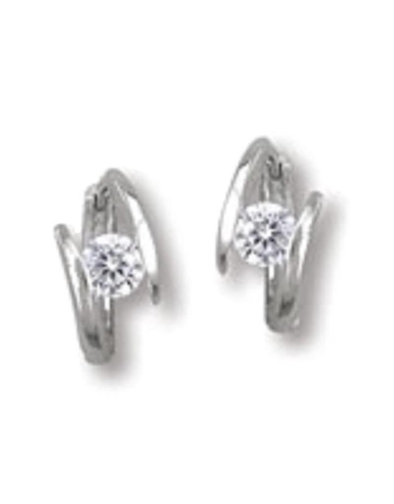 Sterling Silver 4mm Cubic Zirconia Huggie Earrings 14mm