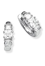Sterling Silver 3 Square Cut Cubic Zirconia Huggie Earrings 14mm