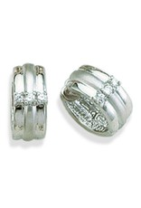 Sterling Silver Cubic Zirconia Huggie Earrings 15mm