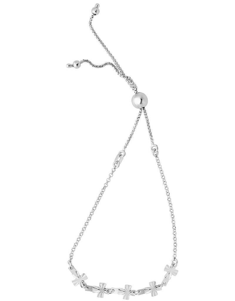 "Sterling Silver Five Cross Adjustable Bolo Bracelet 6"" to 9.25"""