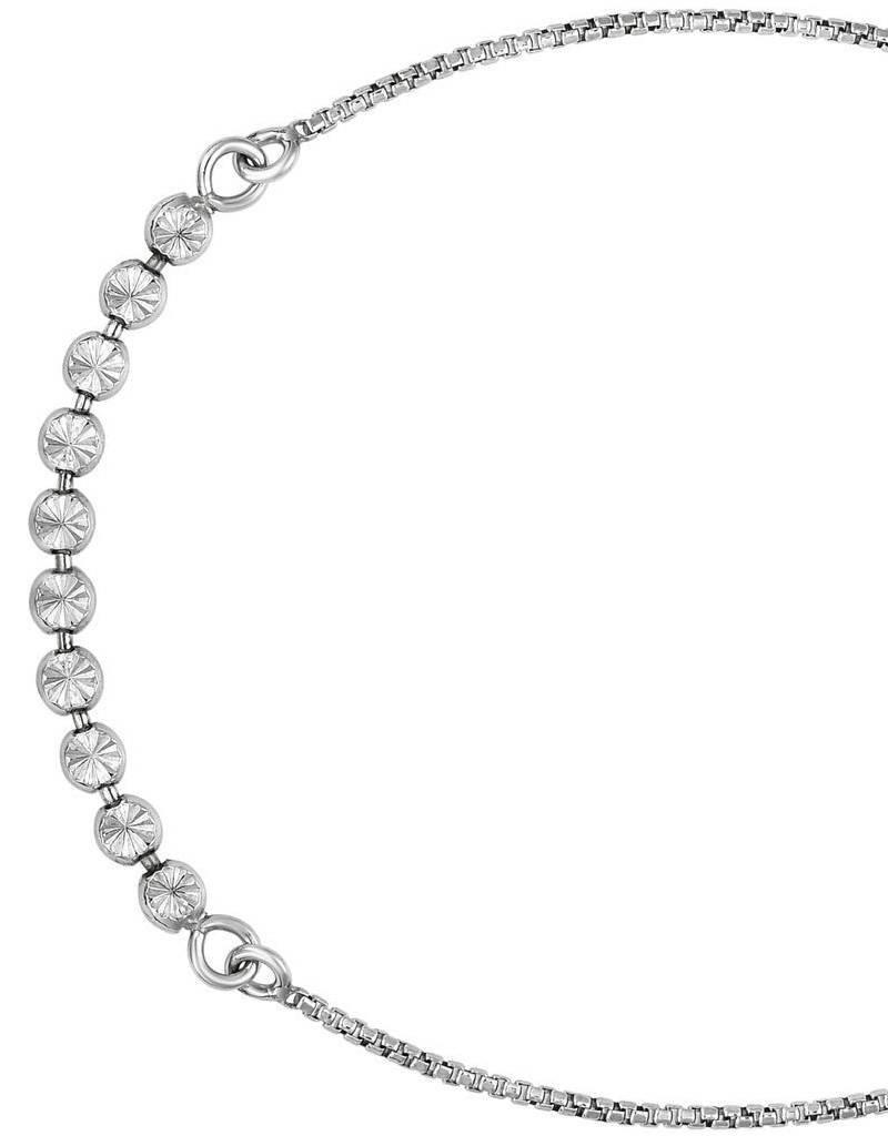 Sterling Silver Diamond Cut Bead Adjustable Bolo Bracelet