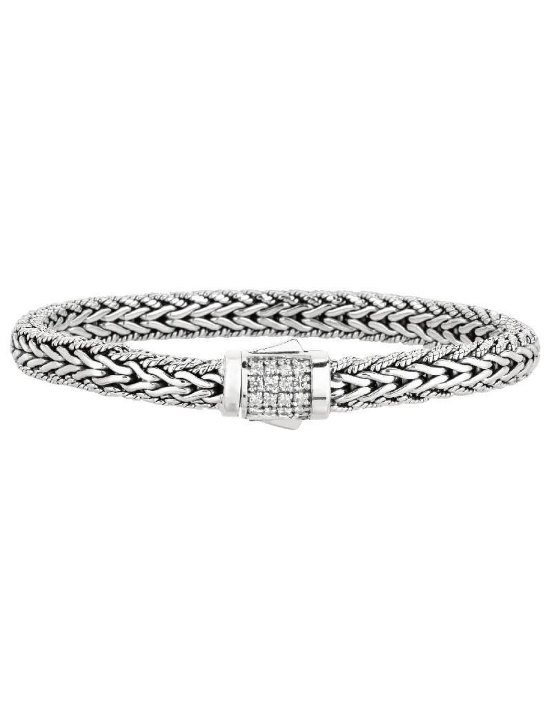 """White Sapphire Bali Bracelet 8.25"""""""