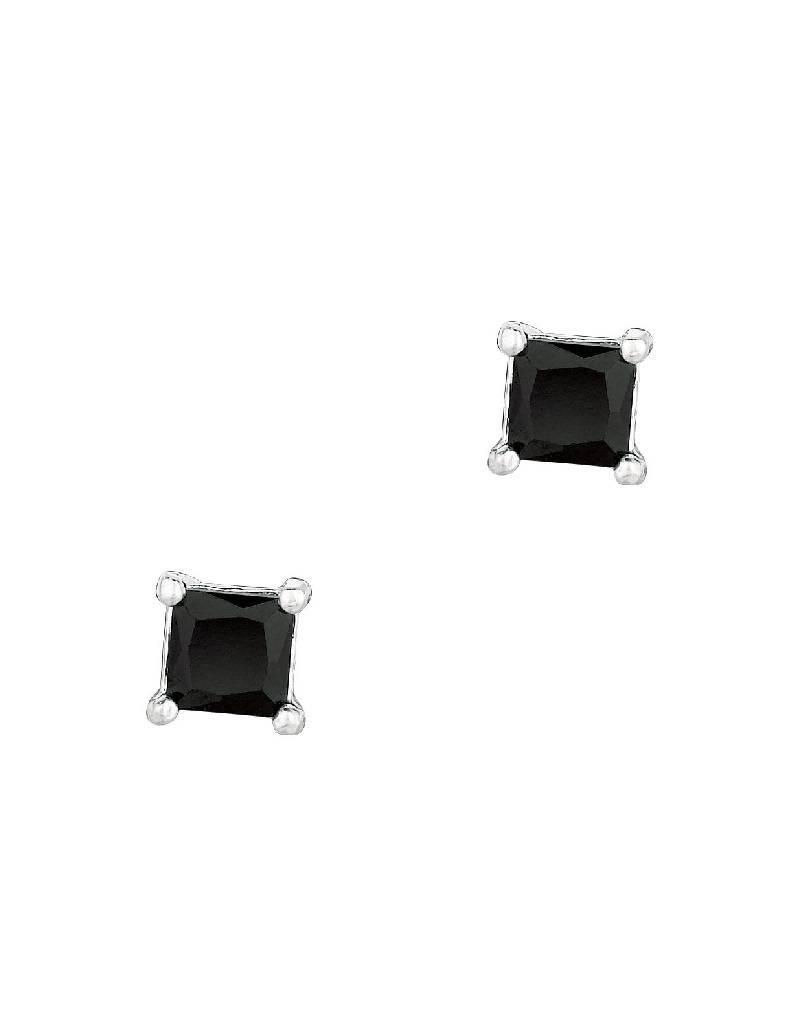 Square Black CZ Stud Earrings 4mm