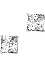 Sterling Silver Square Cubic Zirconia Stud Earrings 6mm