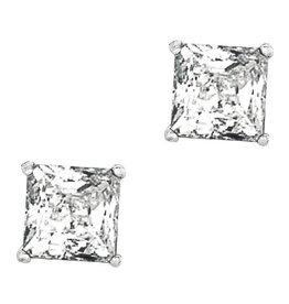 Square CZ Stud Earrings 6mm